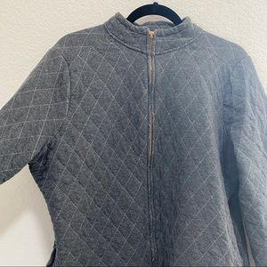 Liz Claiborne Gray Zip Up Jacket 100% Cotton Size 1X